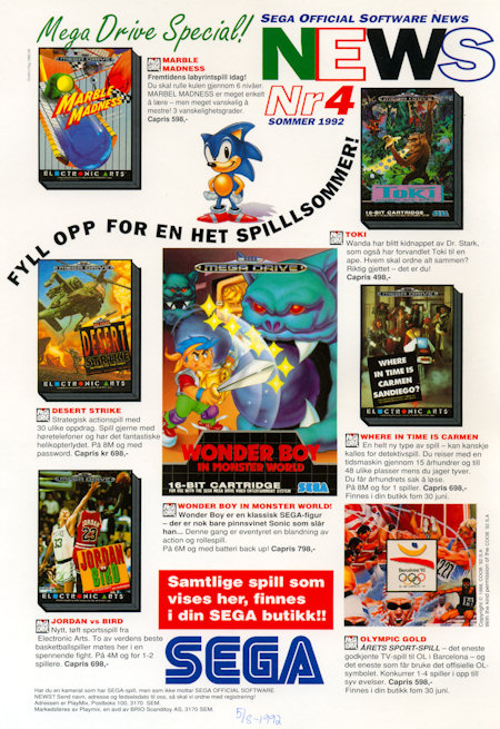 SEGA Official Software News 1992 Summer